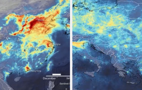 This satellite image from the European Space Agency shows the decline of nitrogen dioxide emissions from 20 December 2019 until 16 March 2020. The red represents areas with very high concentration  nitrogen dioxide emissions. The change  due to quarantine can very clearly be seen.