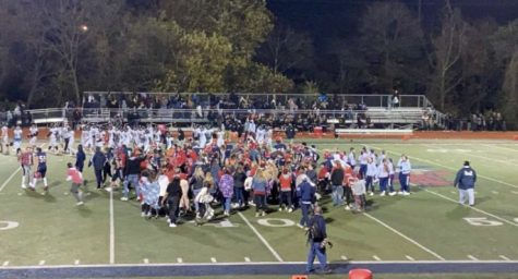 Central football fans celebrate after defeating the Knights on 10/23/20.